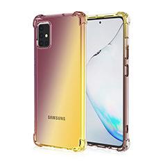 Samsung Galaxy A51 4G用極薄ソフトケース グラデーション 勾配色 クリア透明 サムスン ブラウン