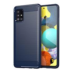 Samsung Galaxy A51 4G用シリコンケース ソフトタッチラバー ライン カバー サムスン ネイビー