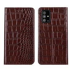 Samsung Galaxy A51 5G用手帳型 レザーケース スタンド カバー T01 サムスン ブラウン
