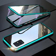 Samsung Galaxy A51 5G用ケース 高級感 手触り良い アルミメタル 製の金属製 360度 フルカバーバンパー 鏡面 カバー T01 サムスン シアン