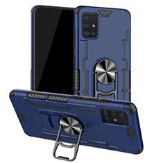 Samsung Galaxy A51 5G用ハイブリットバンパーケース プラスチック アンド指輪 マグネット式 R01 サムスン ネイビー