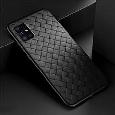 Samsung Galaxy A51 5G用シリコンケース ソフトタッチラバー レザー柄 カバー H01 サムスン ブラック