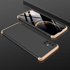 Samsung Galaxy A51 5G用ハードケース プラスチック 質感もマット 前面と背面 360度 フルカバー P01 サムスン ゴールド・ブラック