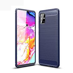 Samsung Galaxy A51 5G用シリコンケース ソフトタッチラバー ライン カバー サムスン ネイビー