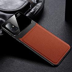 Samsung Galaxy A51 5G用シリコンケース ソフトタッチラバー レザー柄 カバー S01 サムスン ブラウン
