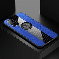 Samsung Galaxy A51 5G用極薄ソフトケース シリコンケース 耐衝撃 全面保護 アンド指輪 マグネット式 バンパー A01 サムスン ネイビー