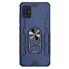 Samsung Galaxy A51 5G用ハイブリットバンパーケース プラスチック アンド指輪 マグネット式 S03 サムスン ネイビー