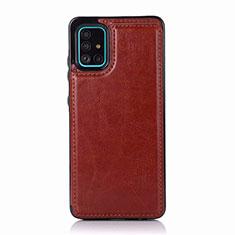 Samsung Galaxy A51 5G用ケース 高級感 手触り良いレザー柄 サムスン ブラウン