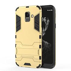 Samsung Galaxy A6 (2018)用ハイブリットバンパーケース スタンド プラスチック 兼シリコーン サムスン ゴールド