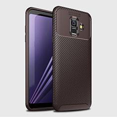 Samsung Galaxy A6 (2018) Dual SIM用シリコンケース ソフトタッチラバー ツイル カバー サムスン ブラウン