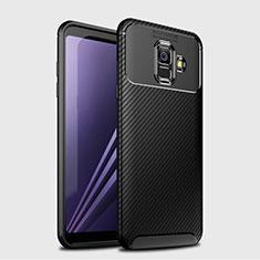 Samsung Galaxy A6 (2018) Dual SIM用シリコンケース ソフトタッチラバー ツイル カバー サムスン ブラック