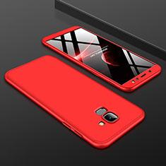 Samsung Galaxy A6 (2018) Dual SIM用ハードケース プラスチック 質感もマット 前面と背面 360度 フルカバー サムスン レッド