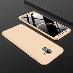 Samsung Galaxy A6 (2018) Dual SIM用ハードケース プラスチック 質感もマット 前面と背面 360度 フルカバー サムスン ゴールド