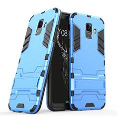 Samsung Galaxy A6 (2018) Dual SIM用ハイブリットバンパーケース スタンド プラスチック 兼シリコーン サムスン ネイビー