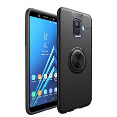 Samsung Galaxy A6 (2018) Dual SIM用極薄ソフトケース シリコンケース 耐衝撃 全面保護 アンド指輪 マグネット式 サムスン ブラック