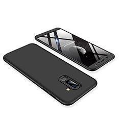 Samsung Galaxy A6 Plus (2018)用ハードケース プラスチック 質感もマット 前面と背面 360度 フルカバー サムスン ブラック
