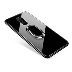 Samsung Galaxy A6 Plus (2018)用ハイブリットバンパーケース プラスチック 鏡面 カバー アンド指輪 サムスン ブラック