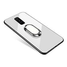 Samsung Galaxy A6 Plus (2018)用ハイブリットバンパーケース プラスチック 鏡面 カバー アンド指輪 サムスン ホワイト