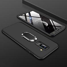 Samsung Galaxy A6 Plus (2018)用ハードケース プラスチック 質感もマット 前面と背面 360度 フルカバー アンド指輪 サムスン ブラック