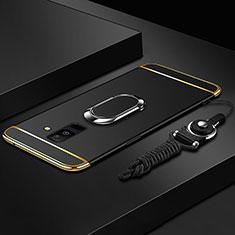 Samsung Galaxy A6 Plus (2018)用ケース 高級感 手触り良い メタル兼プラスチック バンパー アンド指輪 亦 ひも サムスン ブラック
