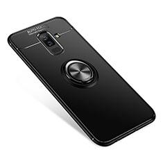 Samsung Galaxy A6 Plus (2018)用極薄ソフトケース シリコンケース 耐衝撃 全面保護 アンド指輪 バンパー サムスン ブラック