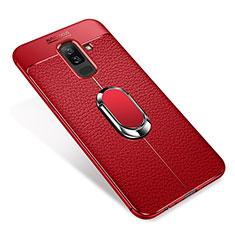 Samsung Galaxy A6 Plus (2018)用極薄ソフトケース シリコンケース 耐衝撃 全面保護 アンド指輪 マグネット式 バンパー S01 サムスン レッド
