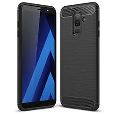 Samsung Galaxy A6 Plus (2018)用シリコンケース ソフトタッチラバー ツイル サムスン ブラック