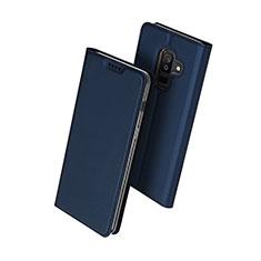 Samsung Galaxy A6 Plus (2018)用手帳型 レザーケース スタンド サムスン ネイビー