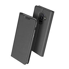 Samsung Galaxy A6 Plus (2018)用手帳型 レザーケース スタンド サムスン ブラック