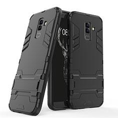 Samsung Galaxy A6 Plus (2018)用ハイブリットバンパーケース スタンド プラスチック 兼シリコーン サムスン ブラック