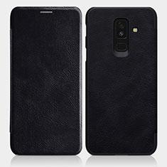 Samsung Galaxy A6 Plus (2018)用手帳型 レザーケース スタンド L01 サムスン ブラック