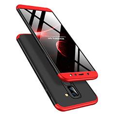 Samsung Galaxy A6 Plus (2018)用ハードケース プラスチック 質感もマット 前面と背面 360度 フルカバー Q02 サムスン レッド・ブラック
