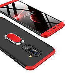 Samsung Galaxy A6 Plus (2018)用ハードケース プラスチック 質感もマット 前面と背面 360度 フルカバー アンド指輪 Q01 サムスン レッド・ブラック