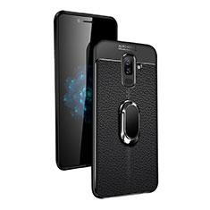 Samsung Galaxy A6 Plus (2018)用極薄ソフトケース シリコンケース 耐衝撃 全面保護 アンド指輪 マグネット式 サムスン ブラック