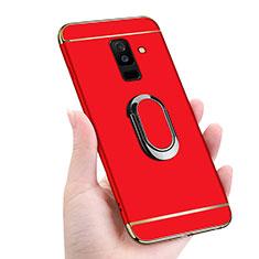 Samsung Galaxy A6 Plus (2018)用ケース 高級感 手触り良い メタル兼プラスチック バンパー アンド指輪 マグネット式 サムスン レッド
