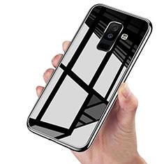 Samsung Galaxy A6 Plus (2018)用360度 フルカバーハイブリットバンパーケース クリア透明 プラスチック 鏡面 サムスン ブラック
