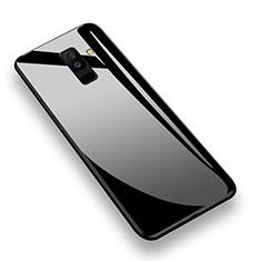 Samsung Galaxy A6 Plus (2018)用360度 フルカバーハイブリットバンパーケース クリア透明 プラスチック 鏡面 T02 サムスン ブラック