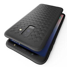 Samsung Galaxy A6 Plus (2018)用シリコンケース ソフトタッチラバー ツイル B02 サムスン ブラック