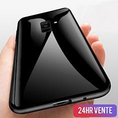 Samsung Galaxy A6 Plus (2018)用360度 フルカバーハイブリットバンパーケース クリア透明 プラスチック 鏡面 T03 サムスン ブラック
