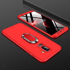 Samsung Galaxy A6 Plus用ハードケース プラスチック 質感もマット 前面と背面 360度 フルカバー アンド指輪 サムスン レッド