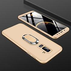 Samsung Galaxy A6 Plus用ハードケース プラスチック 質感もマット 前面と背面 360度 フルカバー アンド指輪 サムスン ゴールド