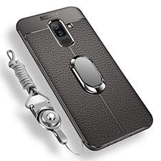 Samsung Galaxy A6 Plus用極薄ソフトケース シリコンケース 耐衝撃 全面保護 アンド指輪 マグネット式 バンパー サムスン グレー
