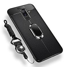 Samsung Galaxy A6 Plus用極薄ソフトケース シリコンケース 耐衝撃 全面保護 アンド指輪 マグネット式 バンパー サムスン ブラック
