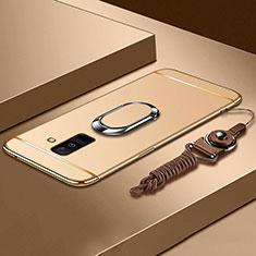 Samsung Galaxy A6 Plus用ケース 高級感 手触り良い メタル兼プラスチック バンパー アンド指輪 亦 ひも サムスン ゴールド