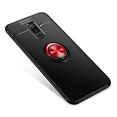 Samsung Galaxy A6 Plus用極薄ソフトケース シリコンケース 耐衝撃 全面保護 アンド指輪 バンパー サムスン レッド・ブラック