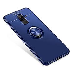Samsung Galaxy A6 Plus用極薄ソフトケース シリコンケース 耐衝撃 全面保護 アンド指輪 バンパー サムスン ネイビー