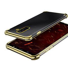 Samsung Galaxy A6 Plus用極薄ソフトケース シリコンケース 耐衝撃 全面保護 クリア透明 H01 サムスン ゴールド