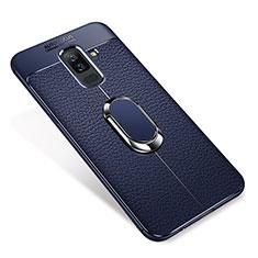 Samsung Galaxy A6 Plus用極薄ソフトケース シリコンケース 耐衝撃 全面保護 アンド指輪 マグネット式 バンパー S01 サムスン ネイビー