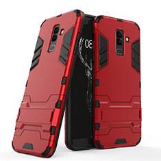 Samsung Galaxy A6 Plus用ハイブリットバンパーケース スタンド プラスチック 兼シリコーン サムスン レッド