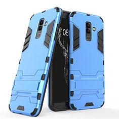 Samsung Galaxy A6 Plus用ハイブリットバンパーケース スタンド プラスチック 兼シリコーン サムスン ネイビー